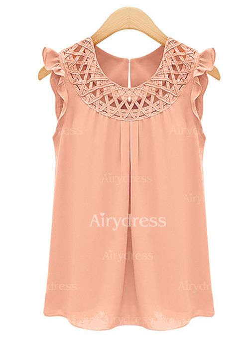 Solid Casual Polyester Round Neckline Sleeveless Blouses (1035476) @