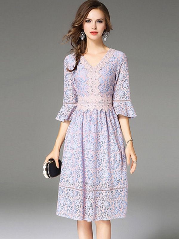 1cf5996931e1 Embroidery Hollow Out Contrast Solid Color Half Flare Sleeves Dresses  Dress   LaceDresses  Jollyhers