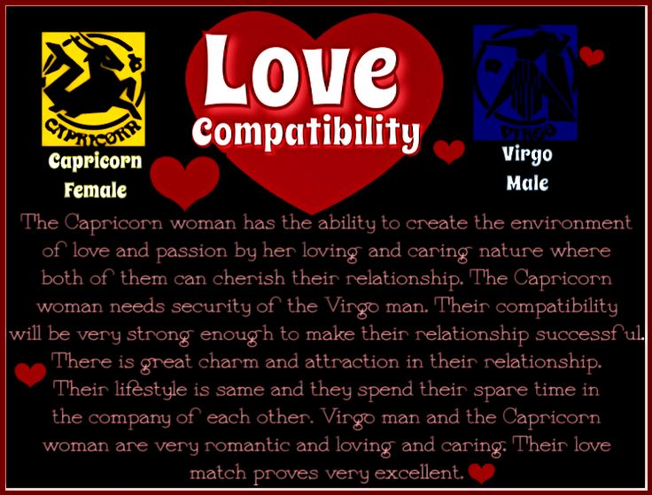 capricorn dating virgo woman If your partner is a capricorn woman it is an earthy sign ruler of the sign- the saturn makes her mature in her disposition materialistic, refined and elegance are the qualities you possess.