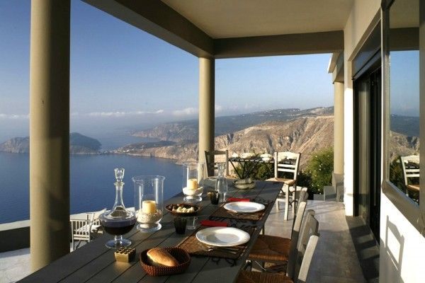 Villa Delphina Greece holiday home stunning Mediterranean view table terrace