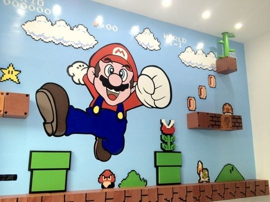 This Mario wall mural is amazing. They painted it by hand using a projector. @Steff L this made me think of you. (Were you going to do Z's room Mario themed?)