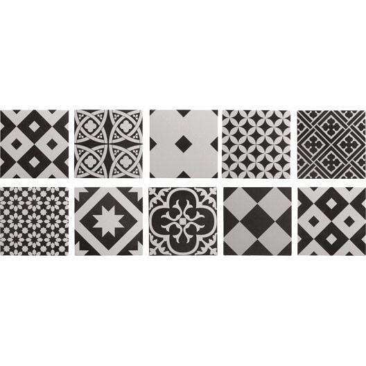 Carrelage intérieur Gatsby ARTENS en grès, noir et blanc, 20 x 20 cm