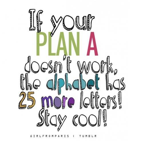 stay calm, and carry on with plan B, C, D, E, .... ;)