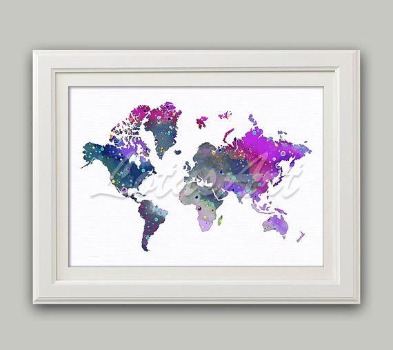 Purple Gray World Map Watercolor Print World Map Wall Art Travel Map Magenta Wall Art Map World Art Living Room Wall Art Wall Home Decor