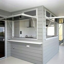 Lifestyle Windows servery with louvered highlights