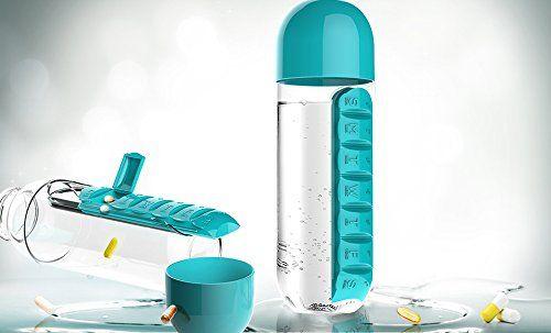 Asobu Combine Daily Pill Box Organizer with Water Bottle, Blue