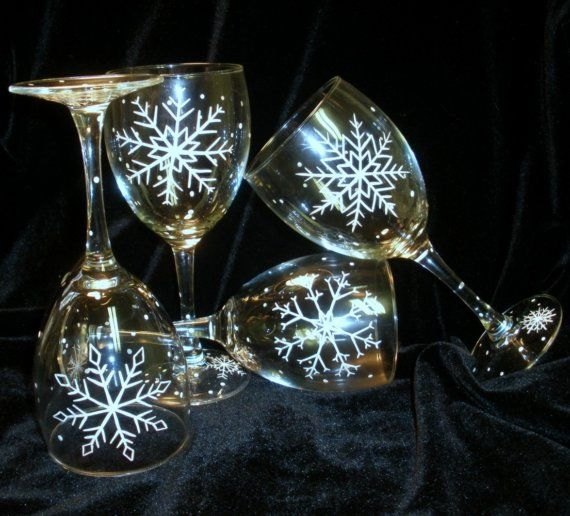 SNOWFLAKE WINE GLASSES Hand Painted Winter Christmas Snow Sparkles