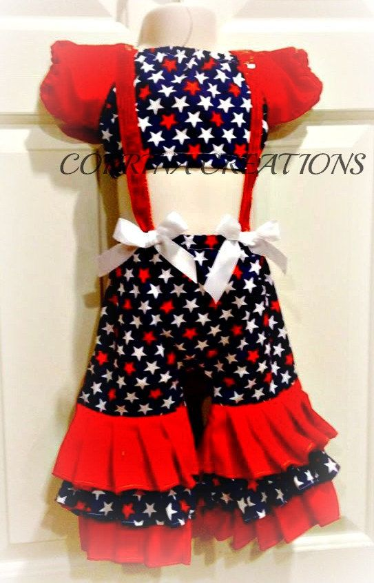 Patriotic July 4th RWB OTT Pageant Wear by corrinacreations, $58.99