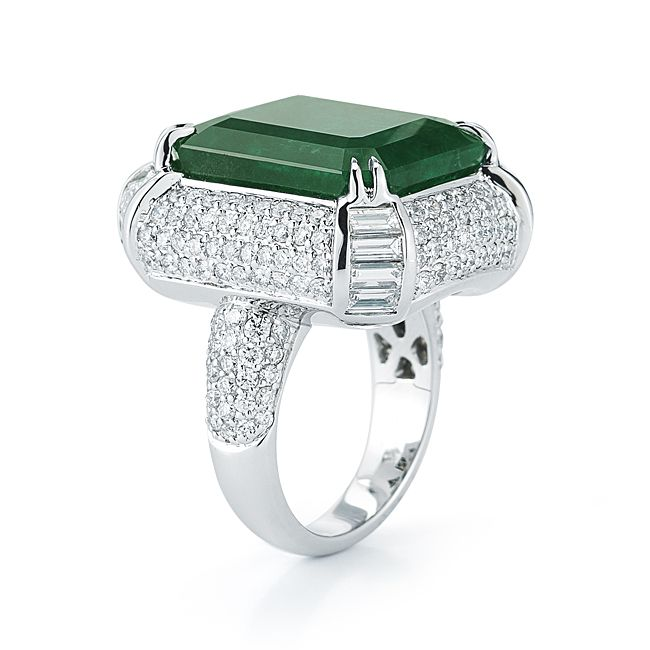 Fine emerald and diamond ring by TAKAT