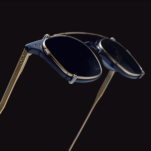 The navy Buckeye features an antique 18k gold clip, elegant keyhole bridge, and titanium temples. Part of an ultra light weight series of men's optical frames. #comingsoon #DITAeyewear