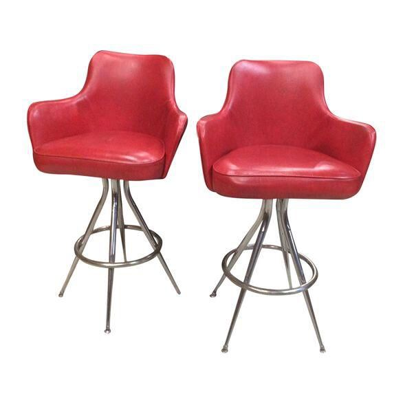 Vintage 1970s Red Bar Stools - Pair  sc 1 st  Pinterest & Best 25+ Red bar stools ideas on Pinterest | Red kitchen accents ... islam-shia.org