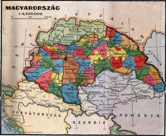 A Kárpát-medence térképe a két bécsi döntés (1938, 1940) után, amelyek a szomszéd államok magyar többségű területeit Magyarországnak ítélték vissza