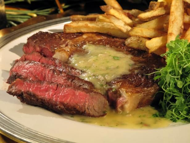 Get Rib Eye Steak in Beurre Blanc with Duck Fat Fries Recipe from Cooking Channel
