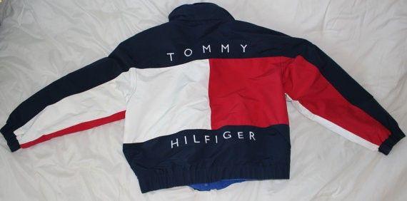 Vintage Tommy Hilfiger Mens capuche manteau veste par DreamyHollow
