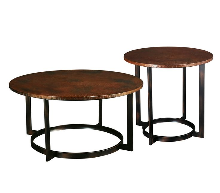 Aged copper finish with a ring-shaped base. Round industrial style coffee table set hammered copper.
