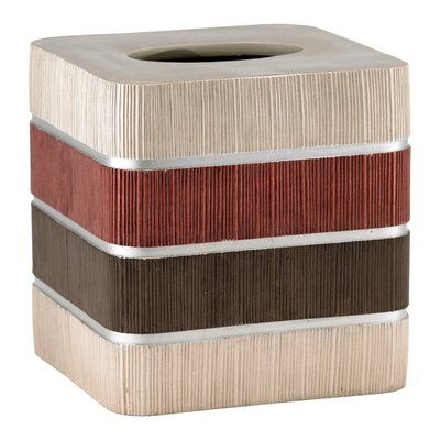 Popular Bath Products Modern Line Tissue Box Cover Color: Burgundy