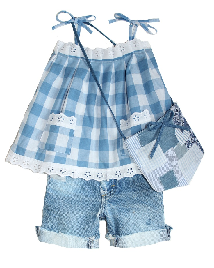 Lindsey Berns #kids blue picnic checked sun dress