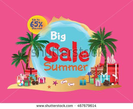 Summer big sale with beach attribute. up to 65% discount. vector illustration