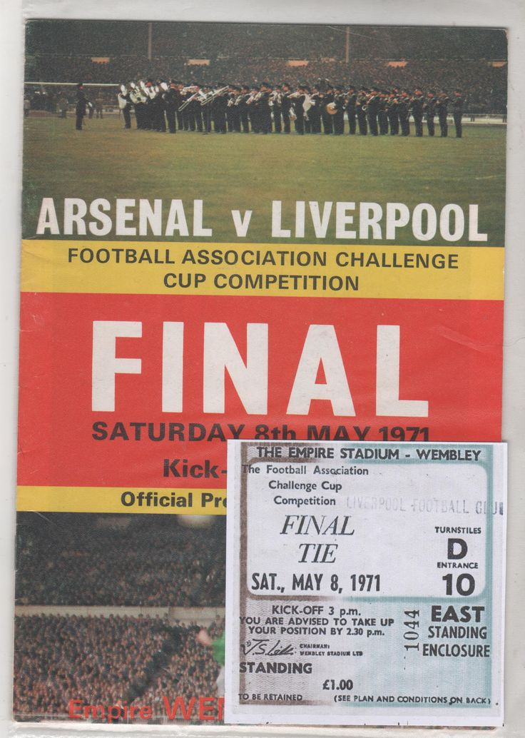 1971 fa cup final Arsenal v Liverpool programme & ticket, see video Charlie George's fantastic goal.