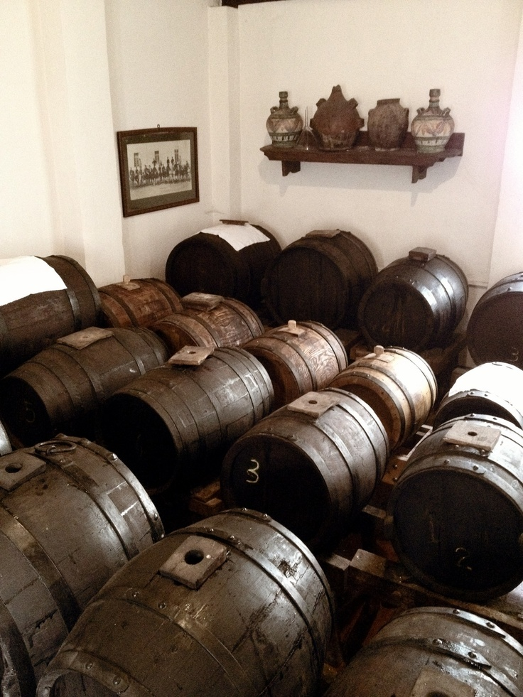 In Modena, Italy where it takes one year to make traditional balsamic vinegar in these barrels.