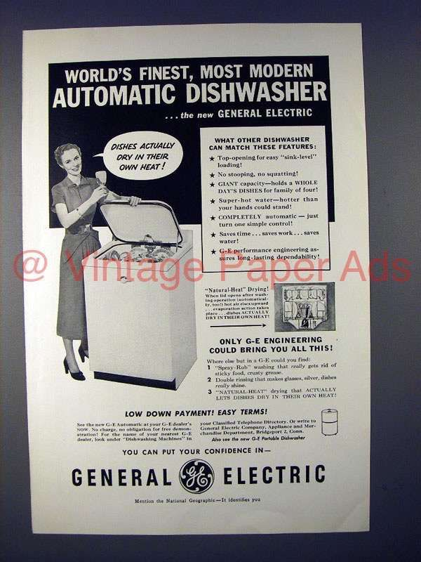 1950 General Electric Automatic Dishwasher Ad General Electric Dishwasher Retro Appliances