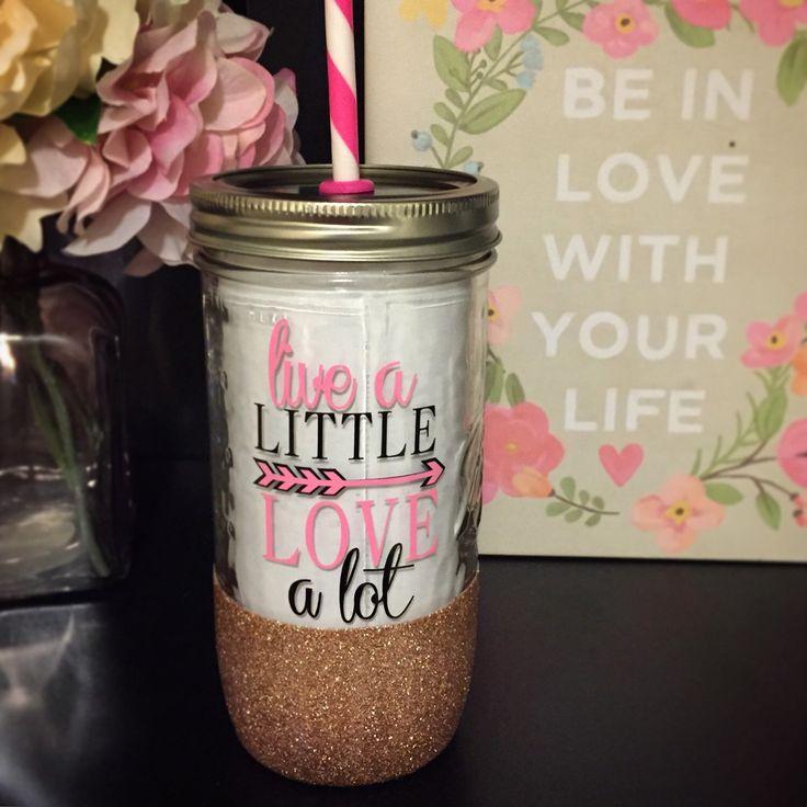 Live a Little, Love a Lot - Personalized Tumbler - 24 oz Mason Jar Glitter Tumbler - Birthday, Bachelorette, Wedding, Bridesmaid, Just Becau by TwinkledPinkShop on Etsy https://www.etsy.com/listing/226647820/live-a-little-love-a-lot-personalized