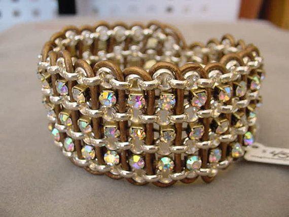 Rhinestone Leather Bracelet Rhinestone by Magicclosetbling on Etsy