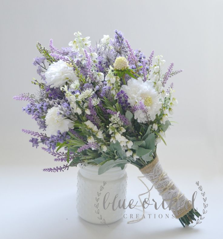 Wildflower Bridal Bouquet - Rustic Bouquet, Lavender Wildflower Bouquet, Shabby Chic Bouquet, Bridal Bouquet, Boho Bouquet by blueorchidcreations on Etsy