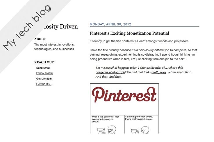 Where I've written a lot about Pinterest, innovation, technology.