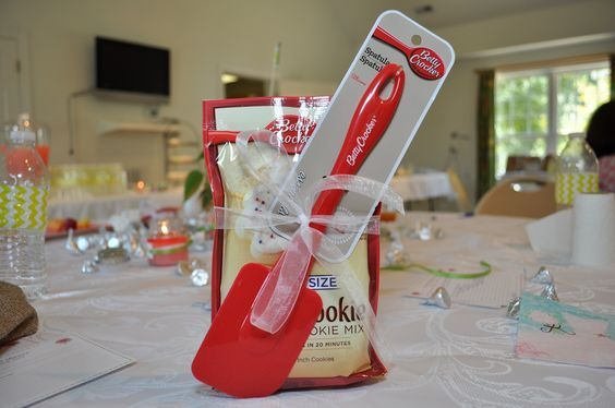 Cheap and easy bridal shower favors or prizes for games. I used these for bridal shower bingo prizes. I found both the spatula and the sugar cookie mix at the Dollar Tree as well as the ribbon. I spent $22+tax for 10 packages of cookie mix, 10 spatula's and 2 roles of ribbon. Cute and yummy! :)