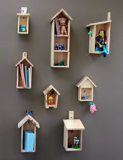 birdhouse shelves: Birdhouses, Kids Bedrooms, Little House, Girls Bedrooms, Kids Room, Girls Room, Birdshous Shelves, Birds House, Bedrooms Wall