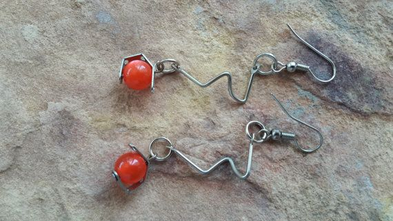 Funky earrings red silver light simple modern fashion teenage gift granddaughter gift best friend gift young girl gift summer dance  prom