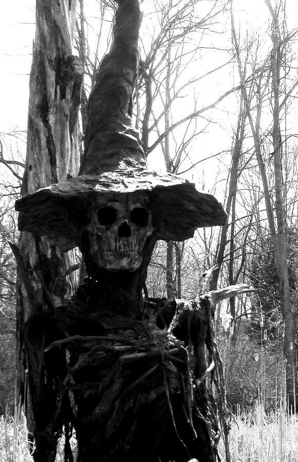Creepy scarecrow in a forest? There's something extra creepy about a scarecrow that's not in a cornfield.