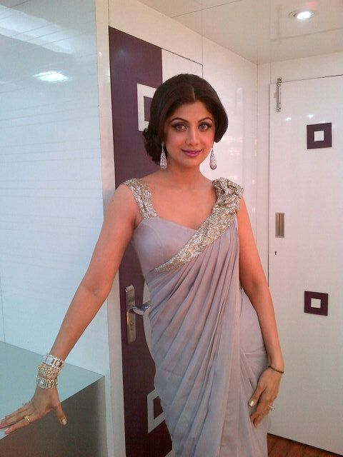 Shilpa Shetty in Gaurav Gupta #Grey Sari / Saree