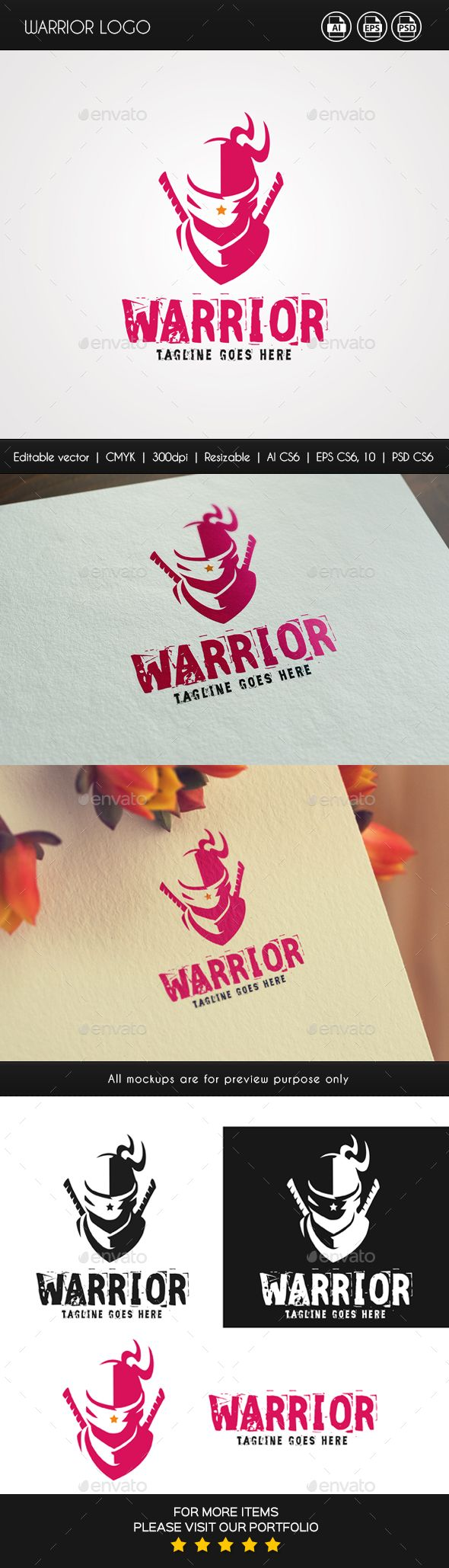 Warrior logo template. 100 vector files and well organized. All objects are grouped for easy editng. Can be used for your own bus