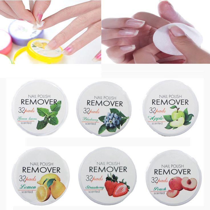 Nail Gereedschap Niet-giftig Nagellak Remover 32 Pads Fruit Polish Remover Katoen Nail Schoon Doekjes Beauty Tools