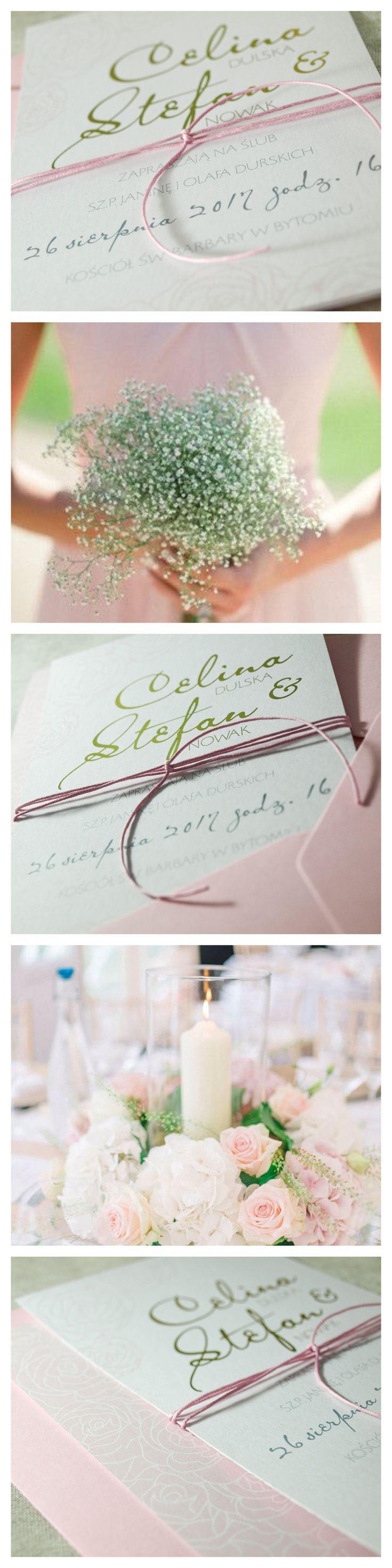 Zaproszenia ślubne, różowe róże, Bendea ArtLine, złocenia