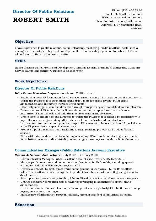 Public Relations Resume Objective Elegant Director Of Public Relations Resume Samples Public Relations Resume Objective Relatable