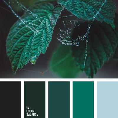 Alina Góndareva, celeste plateado, color contrastante, color contrastante y tonos pastel, color pantano, color verde jade, color verde jade oscuro, elección del color, esmeralda, esmeralda oscuro, paleta de colores monocromática, tonos verdes, verde oscuro.