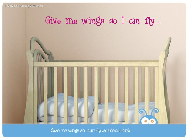 give me wings, wall decal quote
