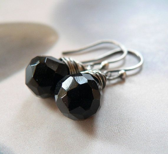 Onyx silver earrings wire wrapped earrings natural jewelry