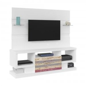 Estante Home para TV até 47 Polegadas com Gaveta Coliseu Artely Branco/Antique