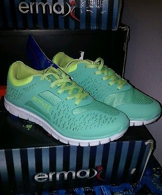 ERMAX WOMENS SPORT SHOES SIZE 5.5 GREEN YELLOW