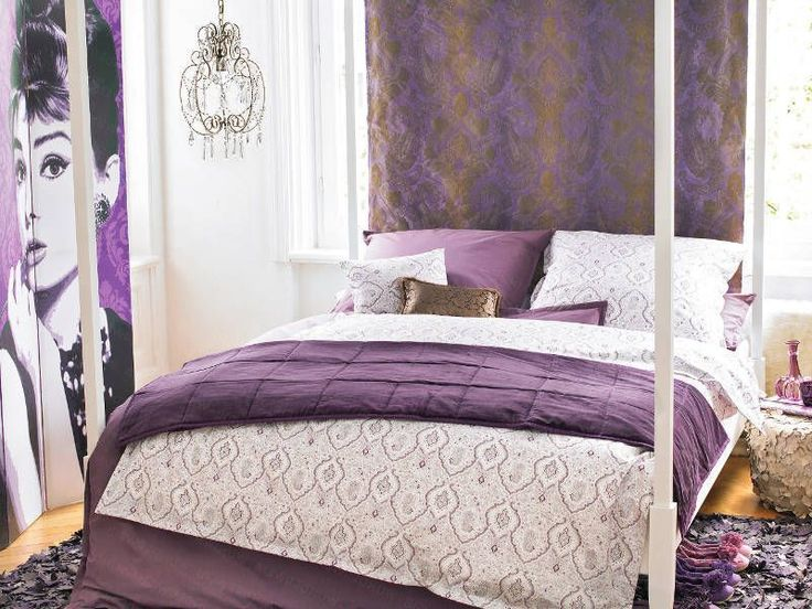 General : Cozy Sharp Double Bed With Purple Decor ~ Resourcedir #EasyNip Part 58