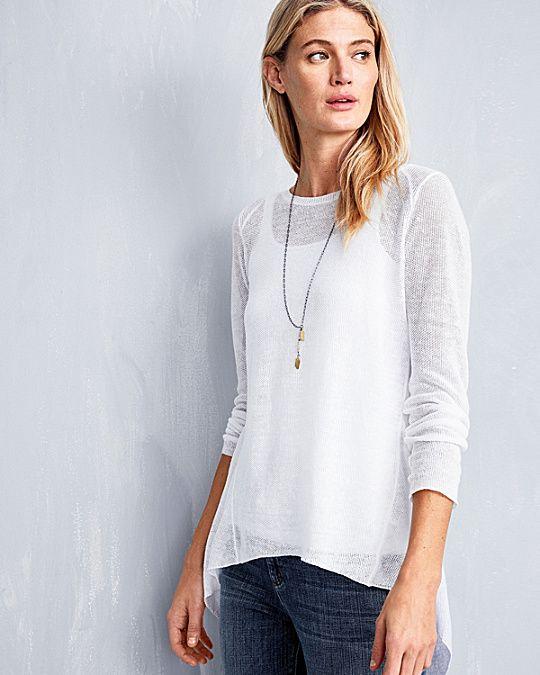 df46b3e1be Eileen Fisher Organic-Linen High-Low Tunic Sweater. Garnet Hill ...