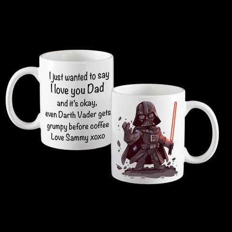 Even Darth Vader gets grumpy funny Fathers Day Coffee Mug