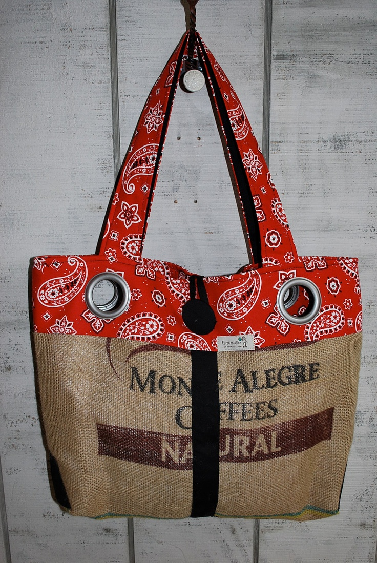 Recycled rice bag purse - Repurposed Upcycled Recycled Coffee Bean Bag Tote One Of A Kind 49 00