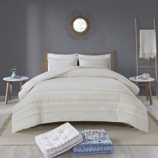 Restyle Your Bedroom With Umbria Cotton Seersucker Comforter Set The Ivory Seersucker Comforter Is Made Comforter Sets King Duvet Cover Sets Duvet Cover Sets