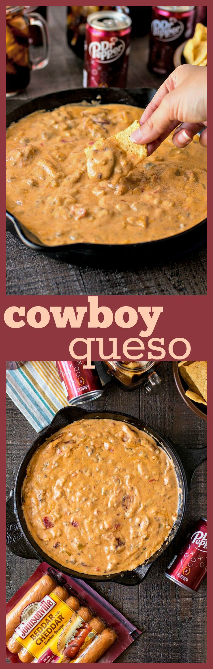#ad Cowboy Queso – A chunky queso dip with chopped green chiles, roasted tomatoes, ground sausage, and sliced smoked cheddar sausage. The best dip to feed a hungry crowd during a tailgate. Perfectly pairs with ice-cold Dr Pepper! @drpepper @jvillesausage