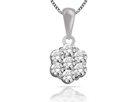 9ct white gold #diamond cluster #pendant with seven brilliant cut #diamonds weighing a total of 0.50ct in claw settings. | #thomasjewellers